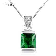 FXLRY Hot High Quality S925 Sterling Silver Necklaces Green Cubic Zirconia Square Cut Emeral Pendant Necklaces For Women Jewelr машина р у на аккум открыв двери sp6888 21 в русс кор в кор 2 12шт