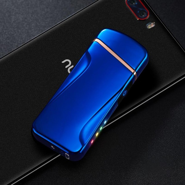 New Double Arc Lighter For Cigarette Smoking Rechargable Windproof Electronic USB Lighter Free Laser Logo