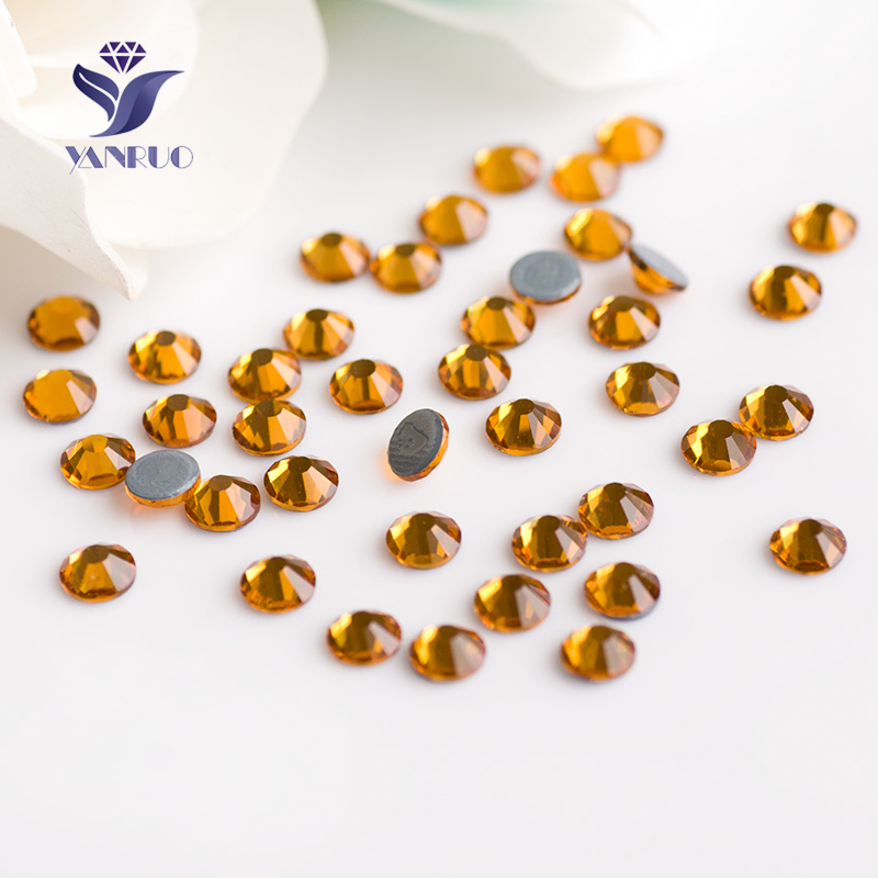 YANRUO SS20 4.6-4.8mm Topaz Top Hot Fix Rhinestones Glass Crystal Clothes Decor Adhesive Loose Cristal Stone Iron On Dreses