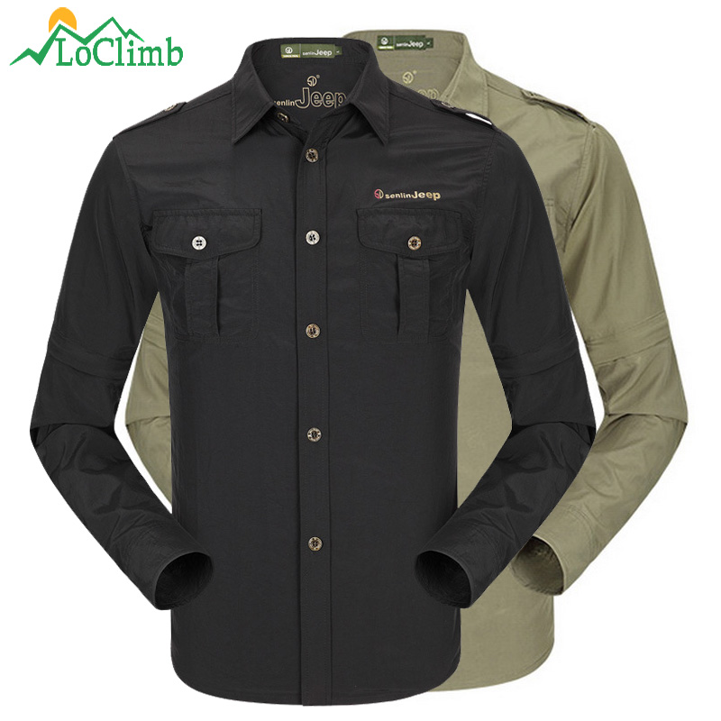 Mens Summer Shirt Outdoor Quick Drying Fishing Shirt with Removable Long Sleeve Summer Camping Hiking Shirt