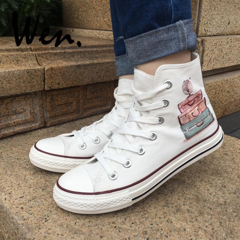 Wen White Canvas Shoes Akvarel Bagage Rejse rundt om i verden Original Design Mænd Top High Platform Sneakers Kvinder Plimsolls