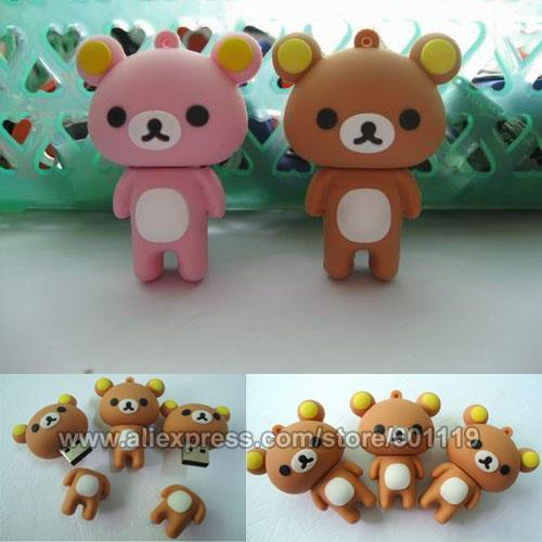 4GB 8GB 16GB 32GB Waterproof Real Capacity Cute Winnie Shape USB 2.0 Flash Memory Drive pendrive Stick thumb Car Key Pen