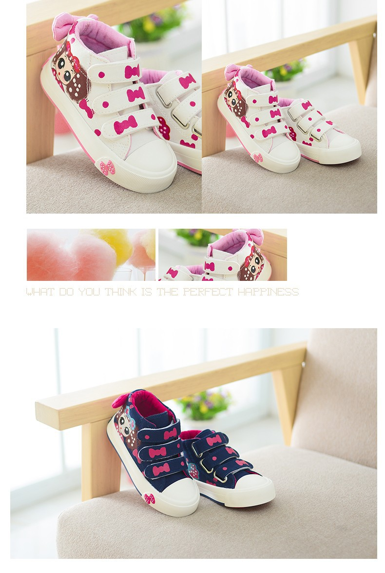 17 New Canvas Children Sneakers Bowknot Baby Girls Princess Shoes Denim Kids Sneakers Polka Dot Flat Boots for Girls 3