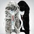 Новая осенне-зимний 2016 мужской жилет мужской жилет теплый Флис мужской норки с капюшоном жилет мужской жилет