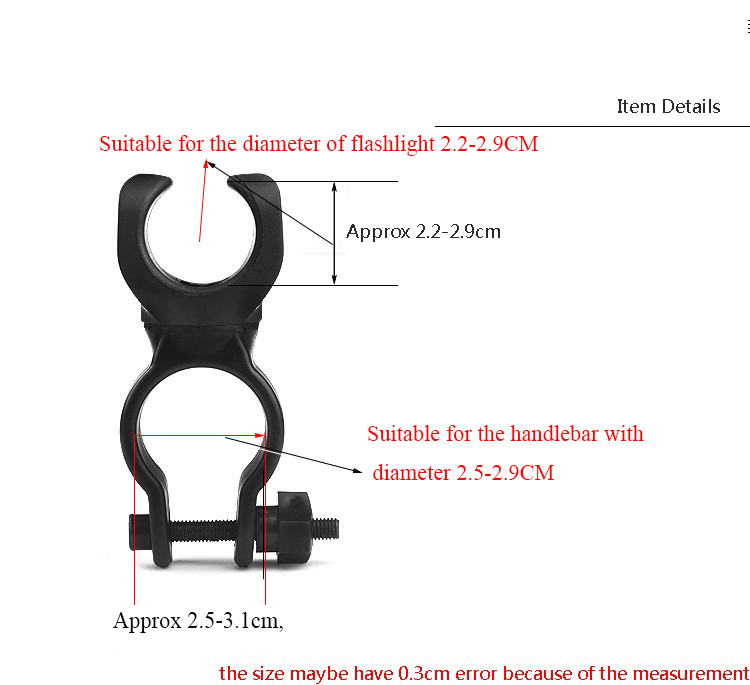 360° Bicycle Bike Mount Holder Rack for LED Flashlight Torch Clip Clamp Black H