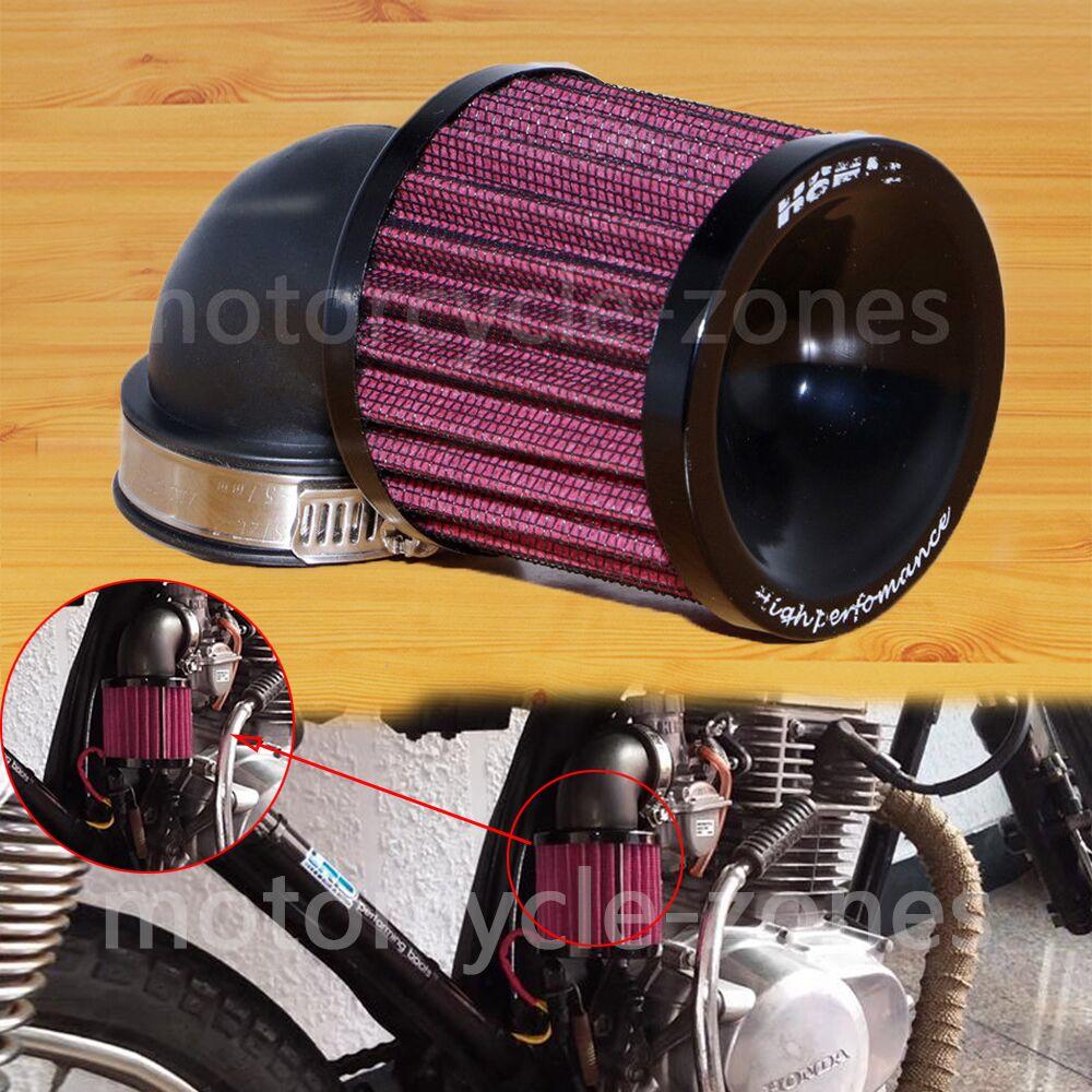 Black 45mm - 48mm Universal Motorcycle Air Intake Flow Filter Cleaner For Bobber Chopper Cruiser