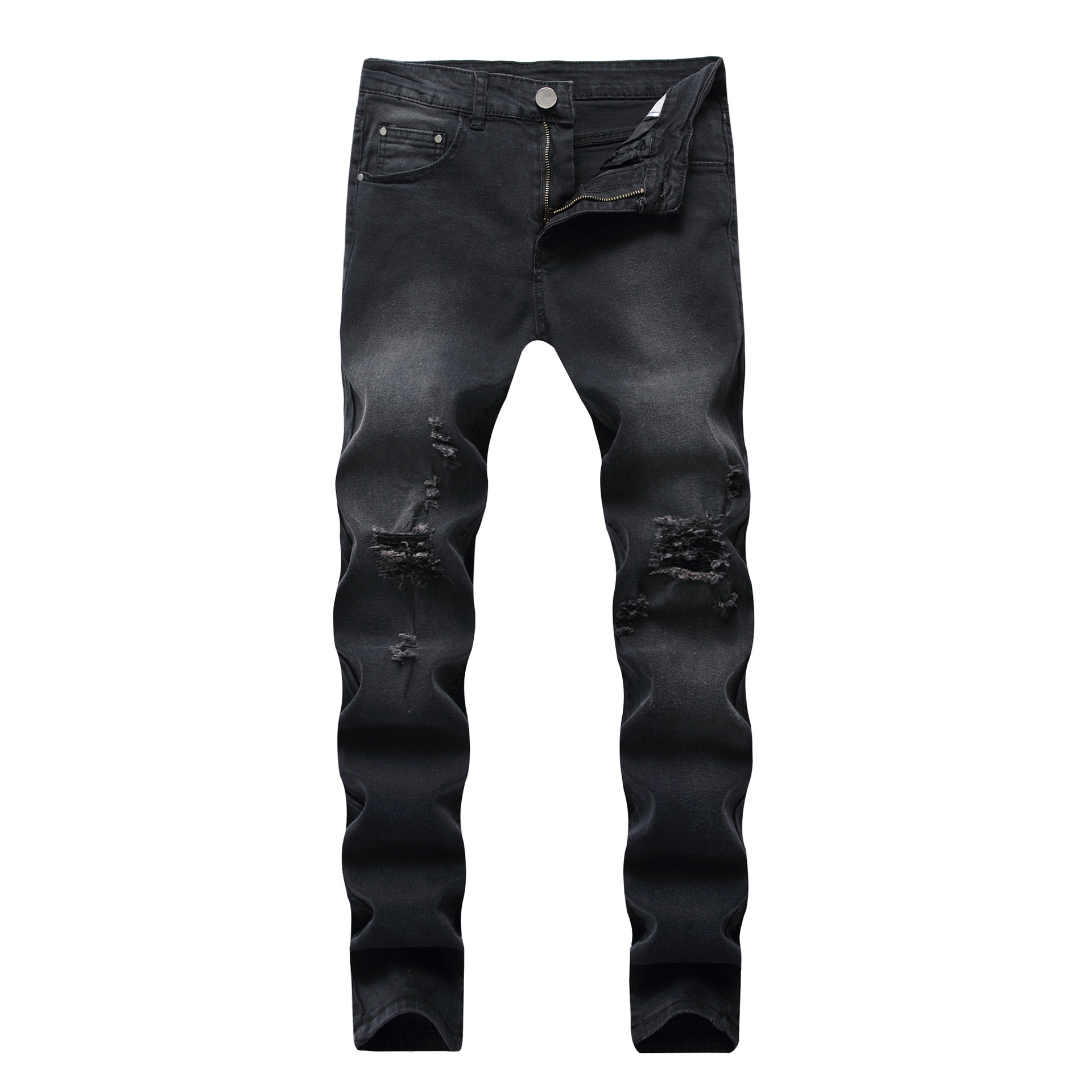 Mens Hole Casual Jeans Slim Tight Wash Trousers Denim Washed Ripped Stretch Full Length Pants Straight Hip Hop Vintage Jeans