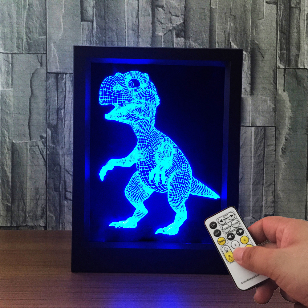 The Dinosa 3D Lamp Photo Frame illusion lamp 7 Color Change USB Desk lamp LED Small Night Light bedroom light For gift acrylic 3d headset frame lampremote touch switch bedroom bedside lamp 7 color change led desk lamp bedroom light as gift