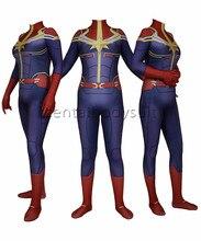 Cosplay Captain Marvel Superhero Costume Girl Bodysuit Jumpsuits Spandex Zentai Halloween Party