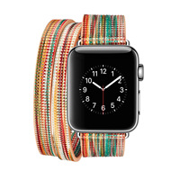 New Double Loop Belt Band For Apple Watch 38mm 42mm Genuine Leather Watchband For Iwatch Series