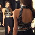 Sexy Black Backless Evening Dress Fashion High Neck Crystal Beaded Mermaid Evening Dress Sexy Leg Split Two Pieces Evening Gowns