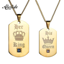 Atoztide Gold Color Stainless Steel Pendants Necklaces Military Army ID Tag Necklace Custom Dog Tag Couple Jewelry
