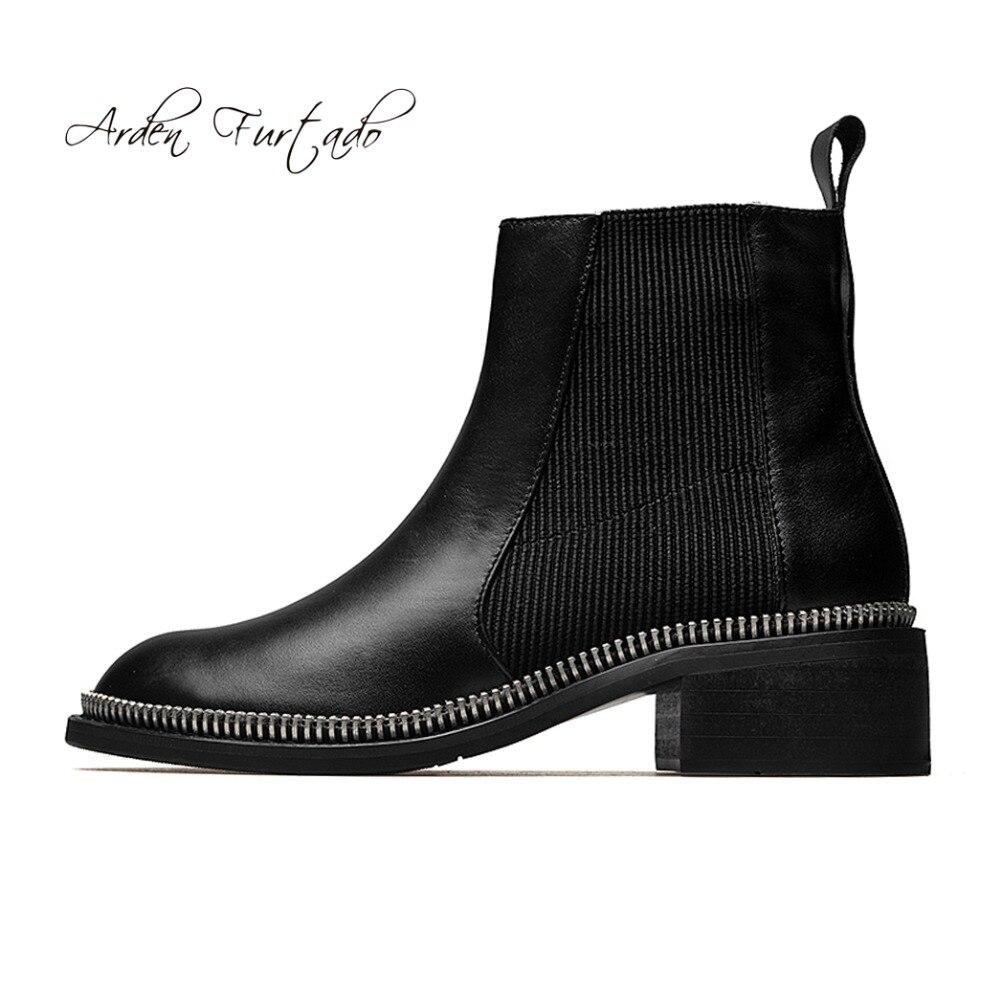 Plat En Dames Femmes Cheville Arden Chelsea Mode Slip Furtado Chaussures Matines Bottes Véritable 2018 Black Hiver Cuir Sur De Rivets 1YwtqgA