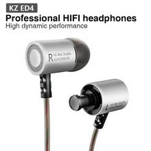 KZ ed4 Hi-Res Audio Earphone With Professional cylinder Metal Earbuds Speaker+Transparent Wire For Smartphone With/Without Mic
