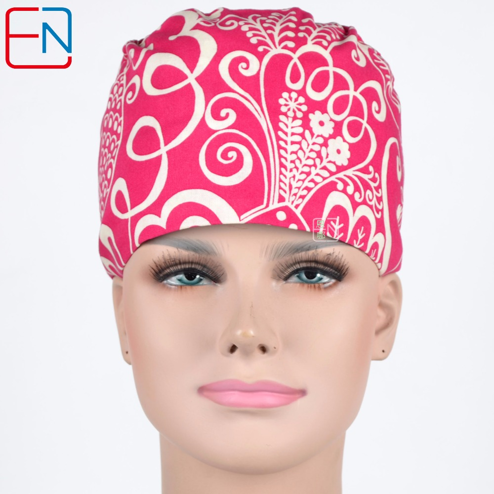 Female Medical Scrub Caps In Rose Red With Big Flowers