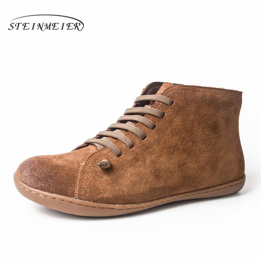 Femmes hiver bottes de neige en cuir véritable cheville printemps chaussures plates femme court marron bottes avec fourrure 2019 pour les femmes bottes à lacets - 6