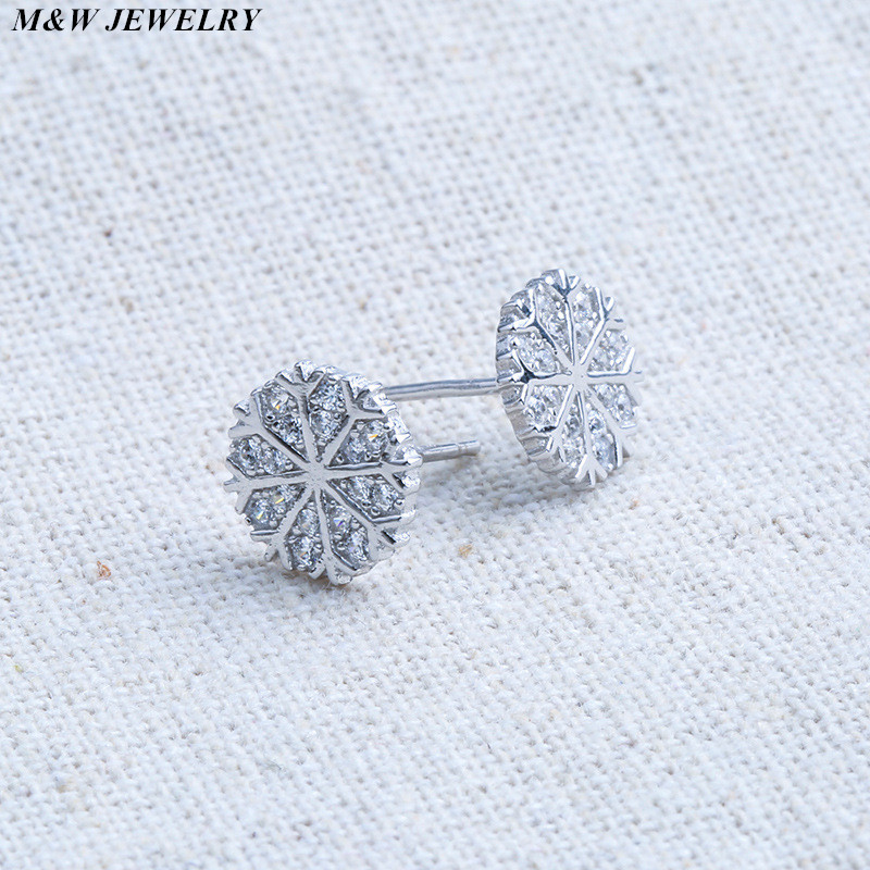 M&W JEWELRY Hot Fashion Earings New 2017 Girls Earing Sliver Snowflake Stud Earrings For Women Wedding Jewelry Earings