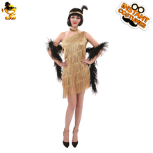 DSPLAY Adult Sexy Golden Deluxe Outfits Woman Dancer Tassel Fancy Dress  Ain t 75d74cf461b2