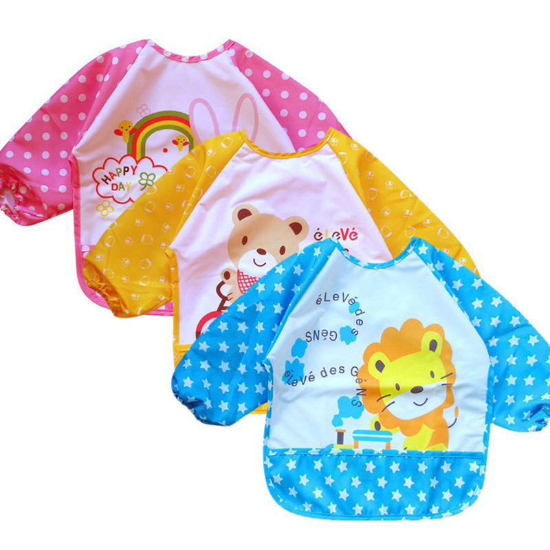 Baby Kid Boy Girl Children water resist EVA Feeding Bib Apron Smock shirts Vest