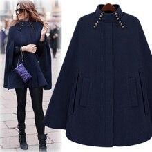 Cool street style cloak outerwear camel blue