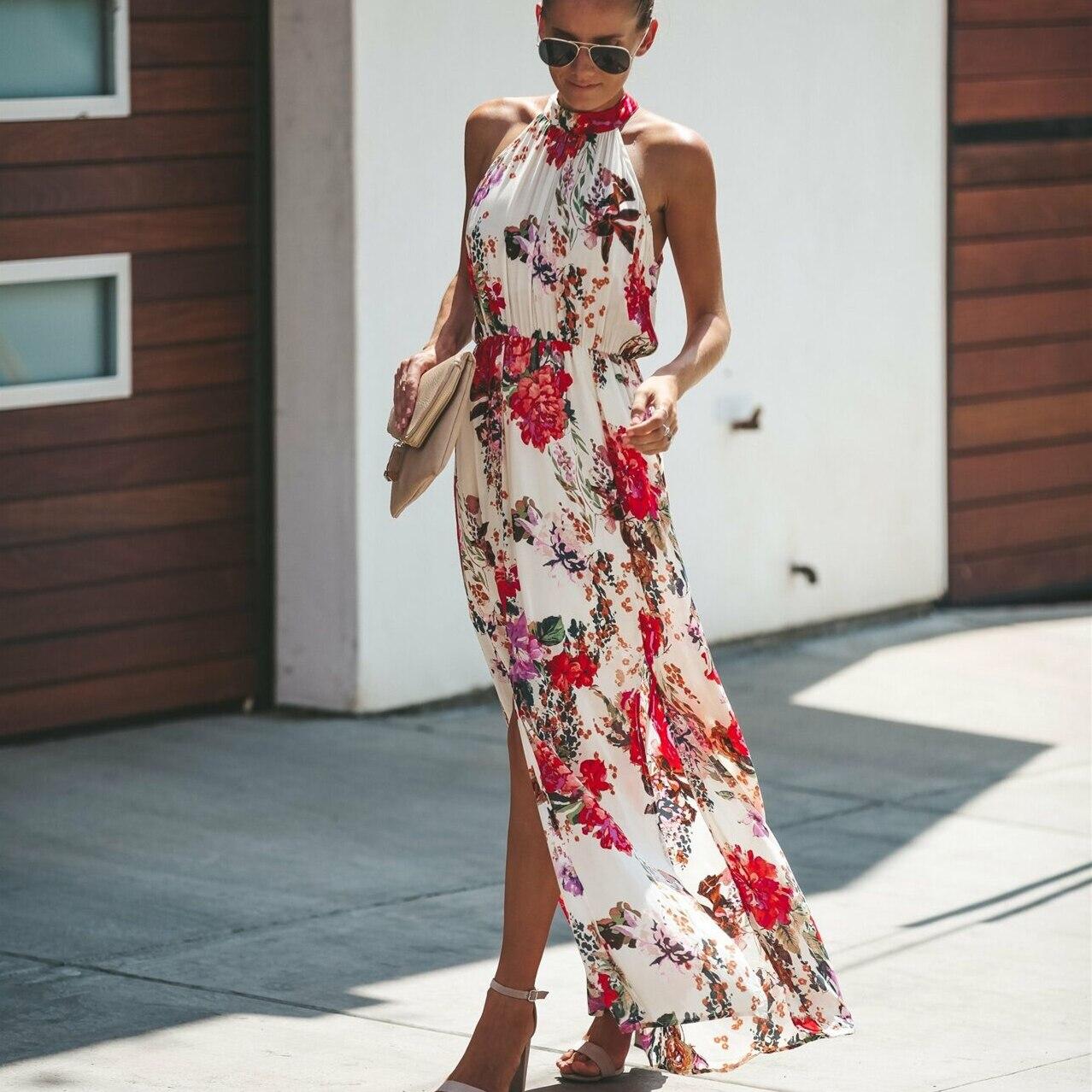 Halter tarzı kadınlar yaz çiçek elbise Casual Boho yüksek bel uzun Maxi tatil parti kolsuz gevşek elbise elbise