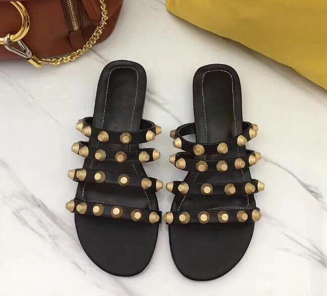 2018 été mode or goujons en cuir sangles femmes sandales plates Sexy bout ouvert dames sans lacet pantoufles Style concis chaussures habillées