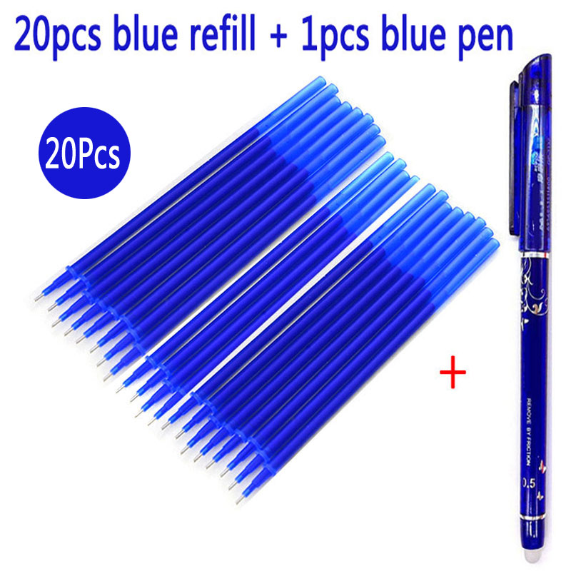 21Pcs/Set Gel Pen Erasable Refill Magic Erasable Pen Refill 0.5mm Blue/Red/Black Ink Office School Stationery Writing Tool Gift