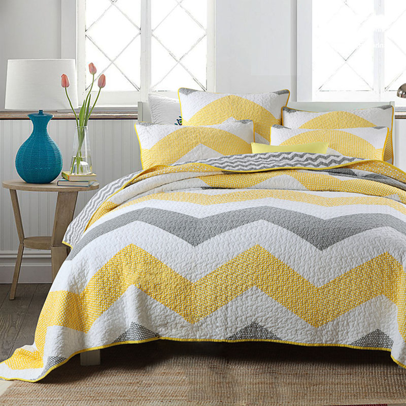 คุณภาพ Stripe Patchwork ชุดผ้านวม 3 ชิ้นผ้านวมผ้าปูที่นอนผ้าฝ้ายผ้านวมผ้าคลุมเตียงผ้าคลุมเตียง King Queen ขนาด Coverlet Cover-ใน ผ้าคลุมเตียง จาก บ้านและสวน บน   1