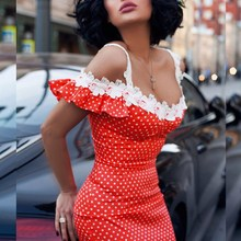Women Polka Dot Slim Maxi Dress Off Shoulder Patchwork Holiday Dress Sexy Package Hip Pencil Dress contrast bow embellished polka dot pencil dress