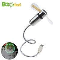USB LED Mini Fan Fan Clock Display Real Time Clock Timing Luminous Fan