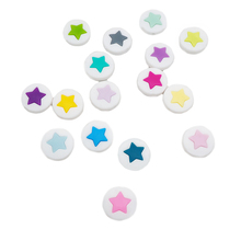 Chenkai 10PCS Silicone Teething Beads Star Round Pie Teethers Food Grade For DIY Infant Nursing Necklace Gift Accessories