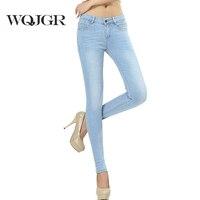 WQJGR תלבושת האביב ובסתיו ג 'ינס נשים גודל ארוך נשים ג' ינס מותן הרזיה נשים כחולות עיפרון רגליים מכנסיים