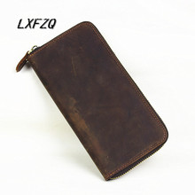 2018 new Genuine Crazy Horse Cowhide Leather Men Wallet Short Coin Purse Small Vintage Wallet Brand High Quality Designer