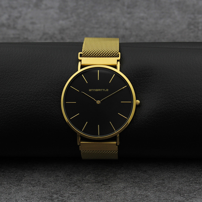 Us 25 43 Luxury Quartz Black Gold Men Minimalist Watch Ultra Thin Magnet Stainless Steel Real Leather Strap Women Wristwatch 6mm Classic In Quartz