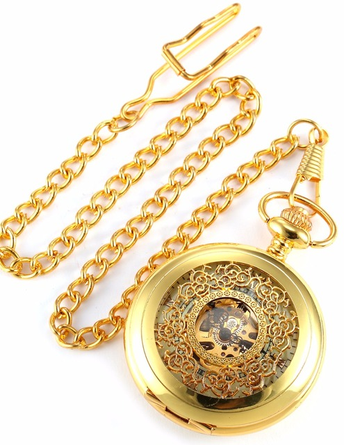 Fashion KS Classic Retro Hollow Gold White Dial Skeleton Hand Winding Mechanical Analog Men Chain Pocket Watch +Gift Box/ WPK020