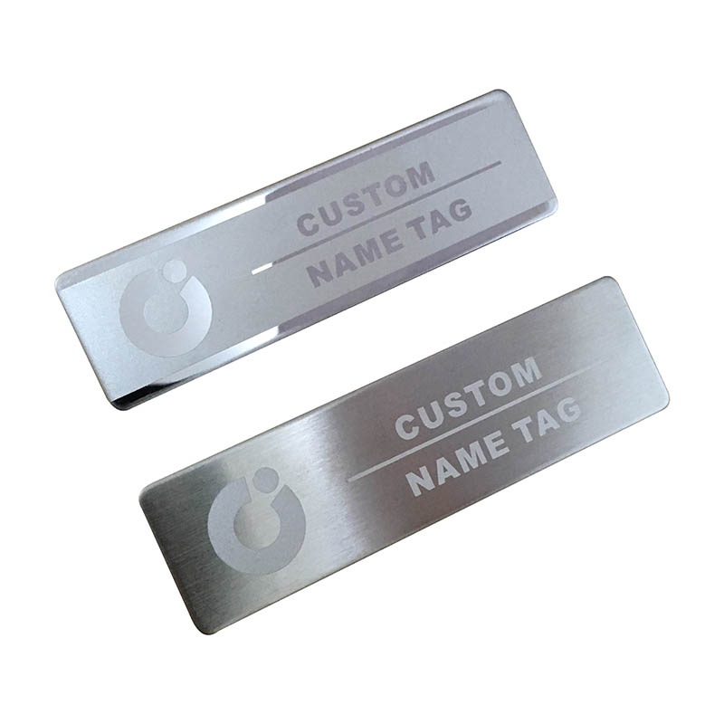 US $7 19 |1pc custom magnet staff name tag badge holder laser logo magnetic  with 70*20mm metal nameplate-in Badge Holder & Accessories from Office &
