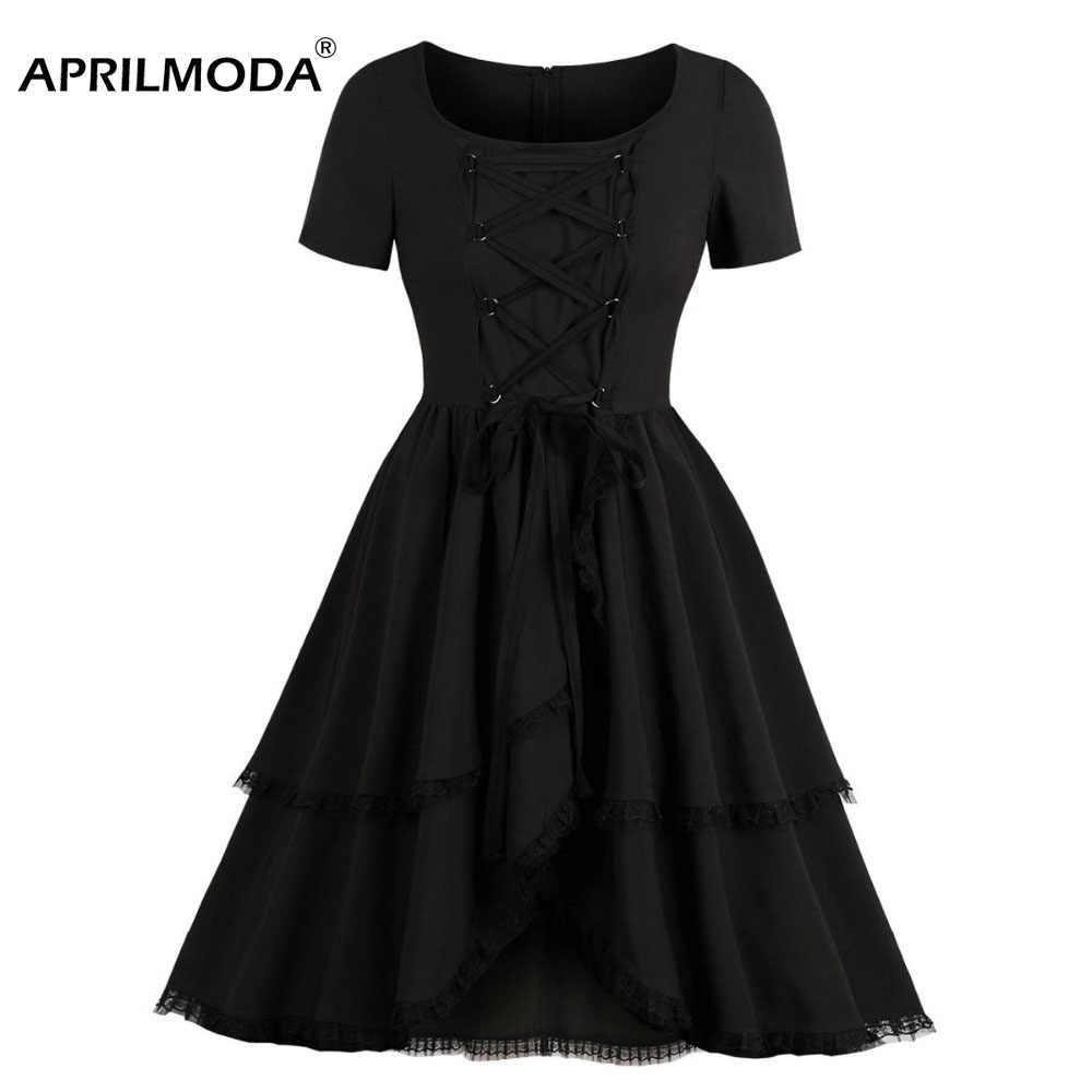 71f2c5fad91 Black Lace Up Corset Dress Gothic Women Hepburn Medieval Costume Dresses  Renaissance 50s Vintage Steampunk Gothic