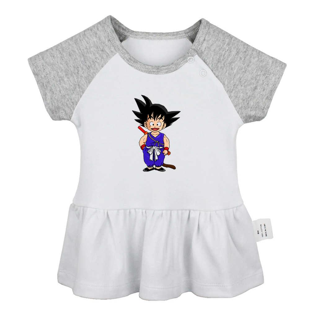 Мультфильм Dragon Ball Z Goku Глаз Гора Держите один проката все время низкая новорожденных платья для маленьких девочек для малышей хлопковая одежда для новорожденных