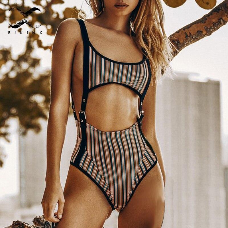 Buy Bikinx Rivet sexy waist one-piece suits Black belt swimsuit 2018 Hollow push bikini High cut bathing suit women swimwear