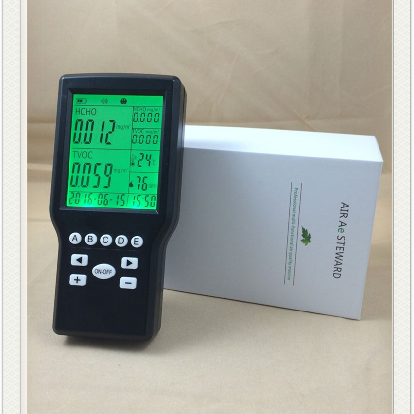 China pm2.5 formaldehyde air quality detector HCHO indoor air quality monitor digital indoor air quality carbon dioxide meter temperature rh humidity twa stel display 99 points made in taiwan co2 monitor