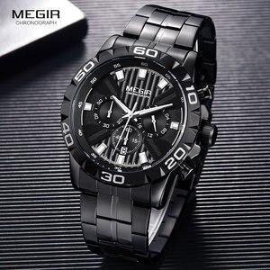 Image 3 - MEGIR montre daffaires à Quartz pour hommes, en acier inoxydable, chronographe étanche lumineux, horloge noire, 2087