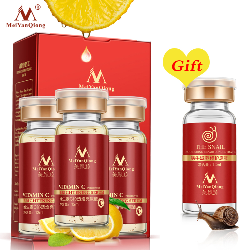 Buy 3 Get 1 Gift Vitamin C Facial Essence Remove Acne Pimples 10ml Anti Aging Whitening Moisturzing Serum Face Care VC Cream