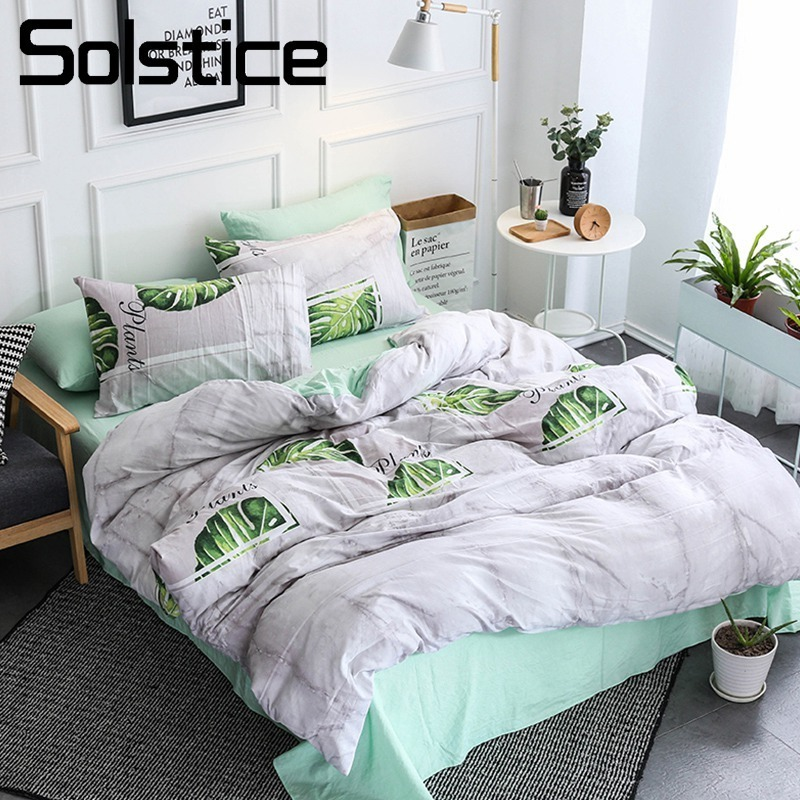 Solstice Home Textile Light Gray Green Girl Kids Bedding Set Duvet Cover Bed Sheet Pillowcase Teen Woman Bedlinen King Full 4Pcs