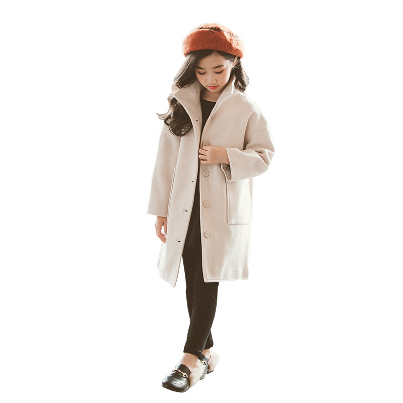 2019 Autumn Winter Girls Woolen Coat Fashion Design Long Coat for Girls Kids Outerwear Jacket RT178