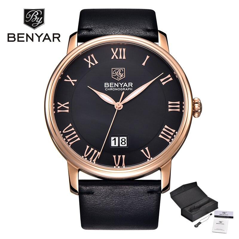 BENYAR Luxury Brand Men Business Watches Reloj Hombre Calendar Leather Fashion Casual Waterproof Quartz Watch Relogio Masculino цена и фото