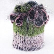 Women's Winter Hats Rex Rabbit Fur Cap Knitt Floral Beanies Bonnets And Headdresses Female Real Fur Headgear Hats For Women