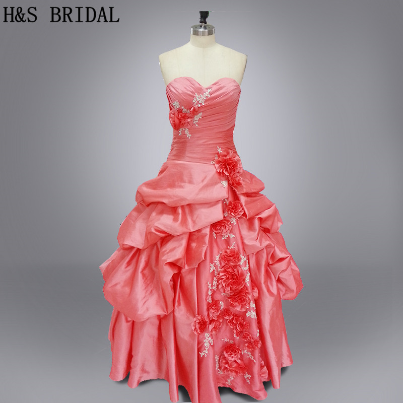 Real photo Sweetheart Peach color Ball gown flowers and appliques ...