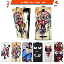 High quality fashion cartoon pattern flip up and down leather case for for MTC Smart Surf 2 4G,Free gift