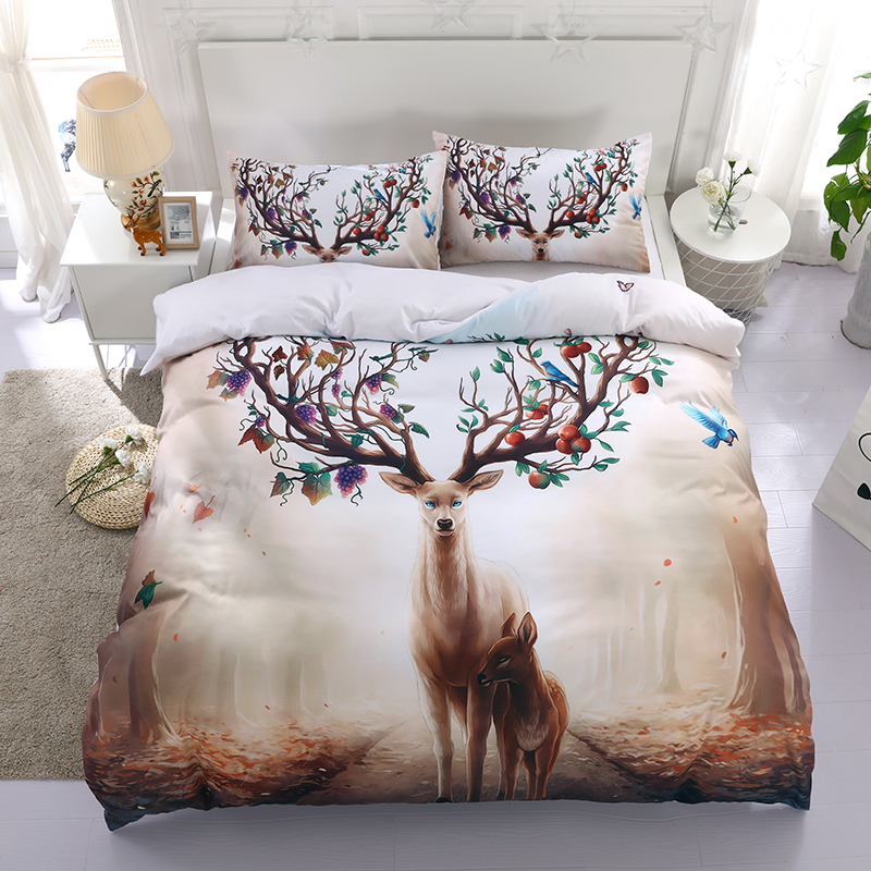 3d animal pattern bedding set queen size 3pcs deer print duvet cover twin full king kids children bed cover home textile gift