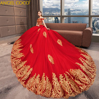 Early Pregnancy Maternity Red Evening Dress Word Shoulder 2018 Pregnant Bride Was Slim Tail Wedding Dress Costume Grossesse